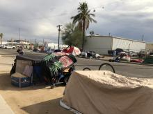 Tents along a street in the Sunnyslope area of Phoenix.